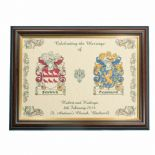 Family Crest A4 WEDDING Print PERSONALISED, Brown Frame,  ref FCWBF